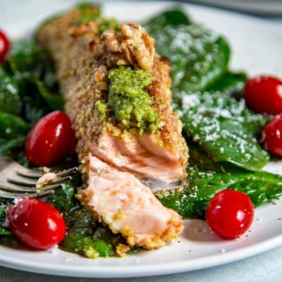 Walnut Crusted Pesto Salmon