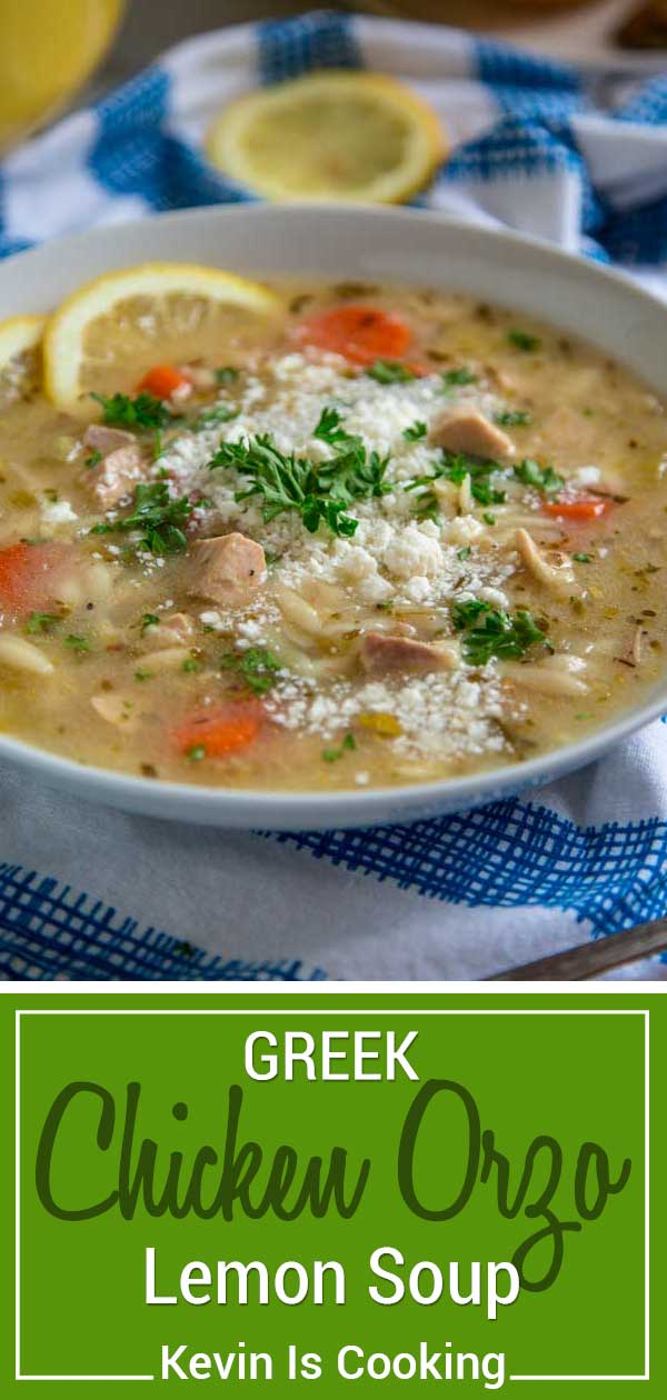 With a richly flavored chicken broth, baked or rotisserie chicken, orzo pasta and lots of tender vegetables, this lemony Greek Chicken Orzo Soup comes together in no time. Top it with crumbled feta cheese and you're good to go! #Greek #soup #orzo #chicken