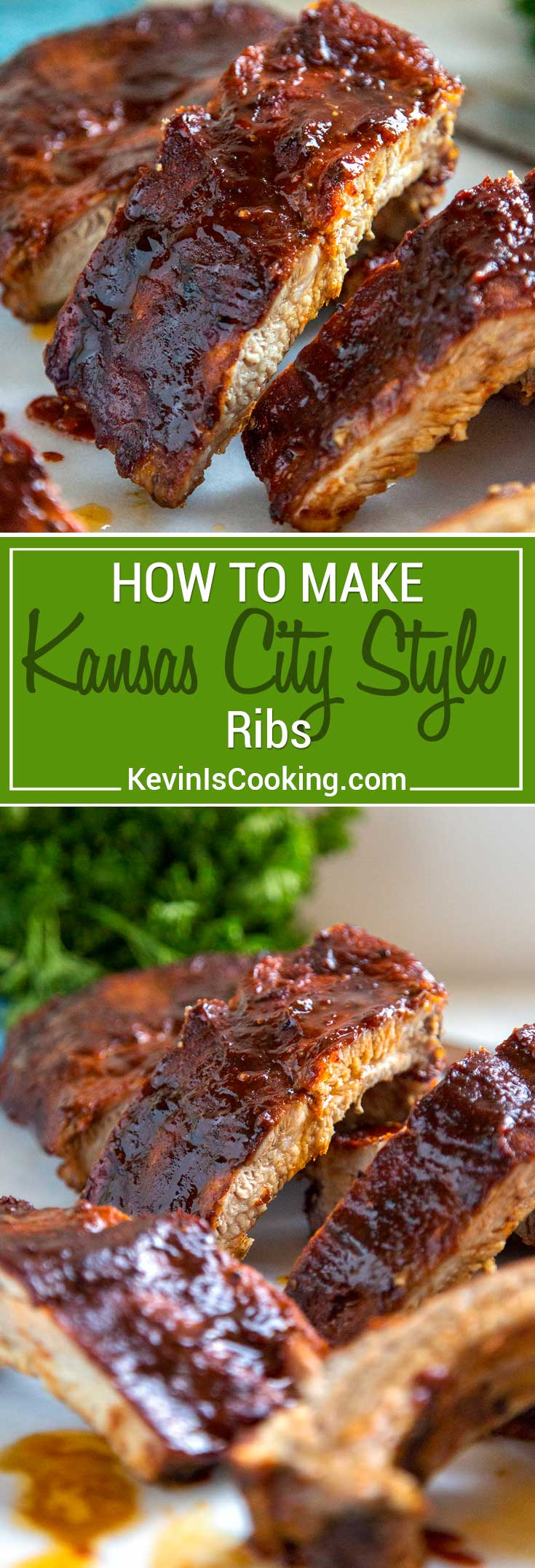 Kansas City Style Ribs are typically characterized by the thick, sticky sauce brushed on in the last 30 minutes of cooking. The dry rub and sauce are on the sweet side using a brown sugar base, but are balanced with chili powder and pepper, producing some truly finger licking good ribs. #ribs #KansasCityStyle #BBQ