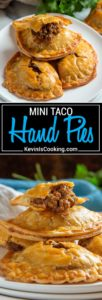 These Mini Taco Hand Pies are a cinch to make using refrigerated pie dough instead of crunchy taco shells, seasoned ground beef with my Taco Seasoning, red onion, refried beans and cheese. Easy to make, great to freeze for later, a perfect mid-week dinner with salad.