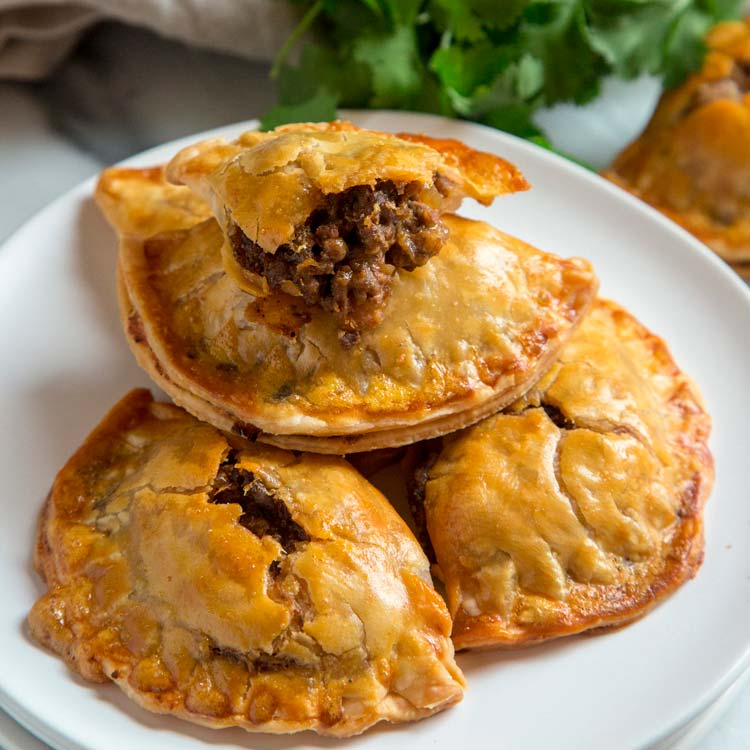 stacked mini beef and bean hand pies, Empanadas!