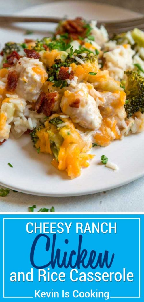 This one pan Ranch Chicken and Rice Casserole couldn't be easier to make. Chopped chicken gets marinated in Ranch dressing and added to rice, vegetables and chicken broth to bake topped with two cheeses and crispy bacon.