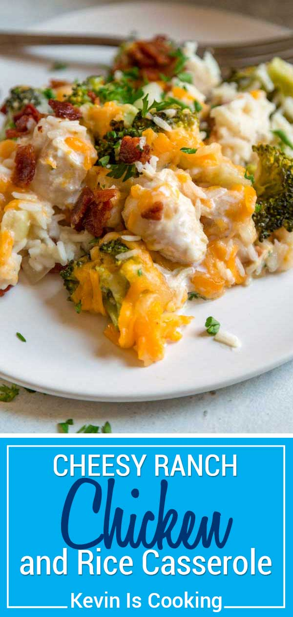 This one pan Ranch Chicken and Rice Casserole couldn't be easier to make. Chopped chicken gets marinated in Ranch dressing and added to rice, vegetables and chicken broth to bake topped with two cheeses and crispy bacon. #casserole #Ranch #chicken
