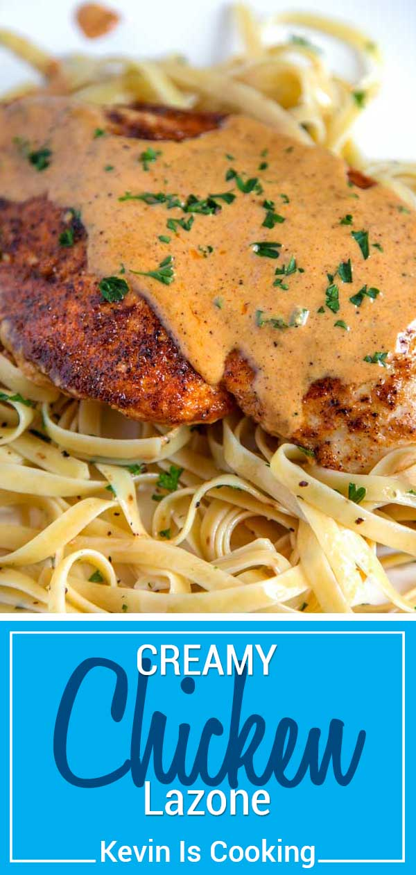 Another winner using pantry spices like white pepper, chili powder and paprika, this Chicken Lazone is super tender, loaded with flavor and the cream sauce to die for. Served over noodles to soak up the delicious sauce, this is on the table in under 30 minutes. #chicken #lazone