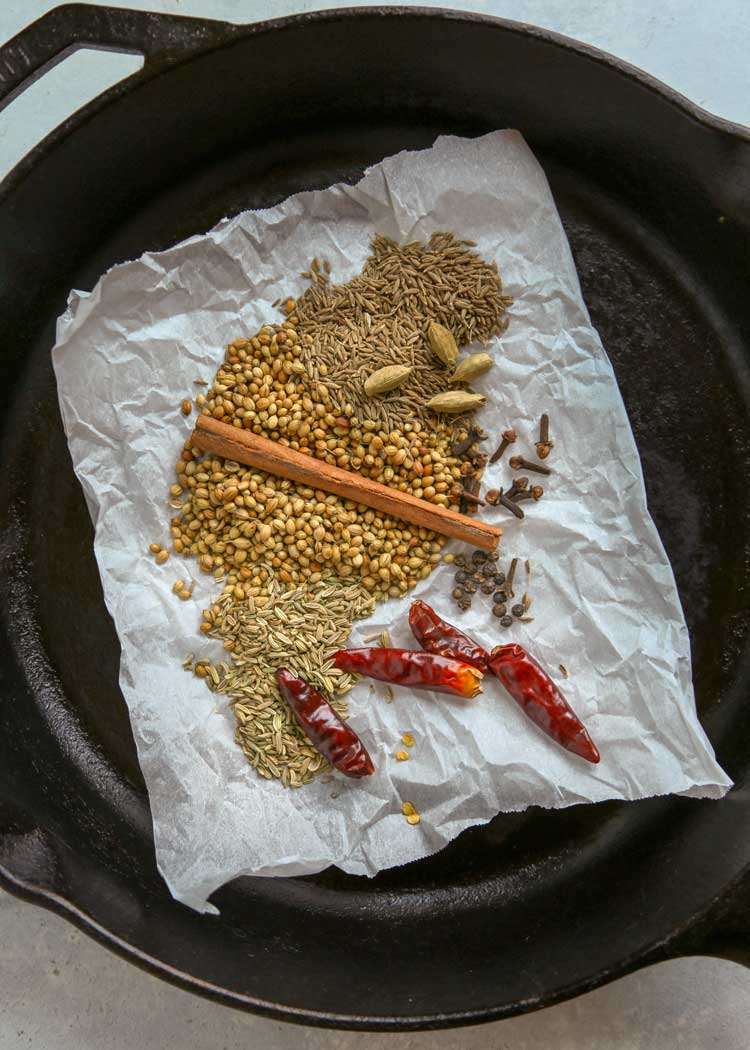 overhead photo of spices for Malaysian Curry Powder Spice Blend