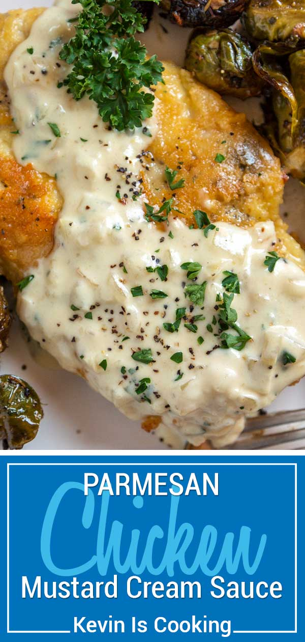 My Parmesan Crusted Chicken with Mustard Cream Sauce use chicken cutlets that are breaded with Parmesan cheese then sautéed to a golden, crunchy brown. A quick mustard cream pan sauce is made to pour on top. Literally on the table in less than 30 minutes.  #chicken #dinner #creamsauce #parmesan