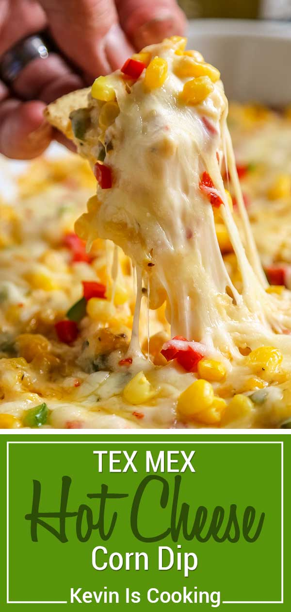 This Tex Mex Hot Corn Dip is loaded with corn, peppers, chiles, two cheeses and warm spices like cumin and paprika. Perfect for any BBQ, game day, potluck or party, this feeds a hungry crowd. You can serve this up in under 30 minutes, too! #corn #appetizer #summer