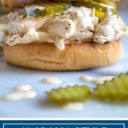 titled image shows alabama style shredded chicken sandwich