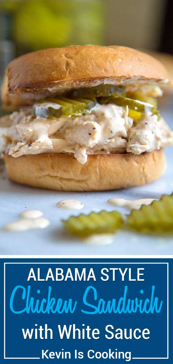 For my Alabama Style Chicken Sandwich you have tender, shredded chicken that's been tossed with Alabama White sauce and topped with dill pickles all on a toasted and buttered hamburger bun. #sandwich #Alabama #chicken