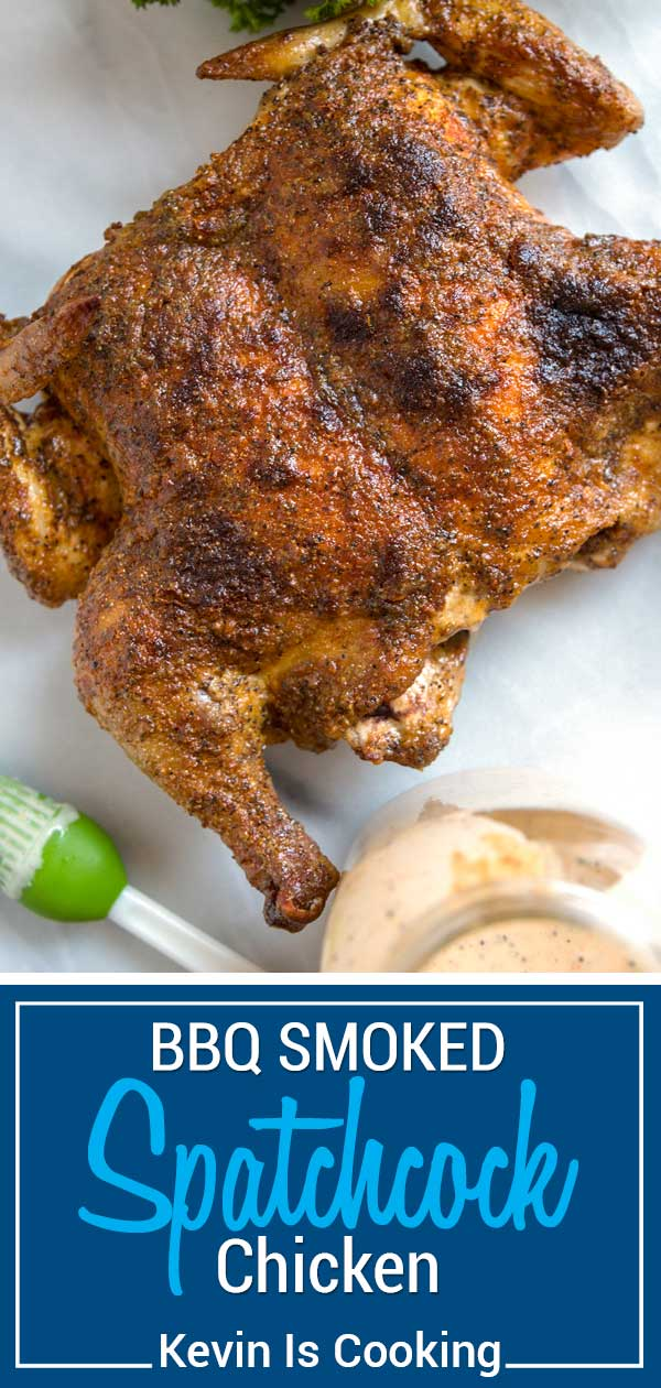 A spatchcock chicken (butterflied) is when you remove the backbone and flatten the chicken for a more even cooking in less time than roasting it whole. #spatchcock #chicken #BBQ #smoked