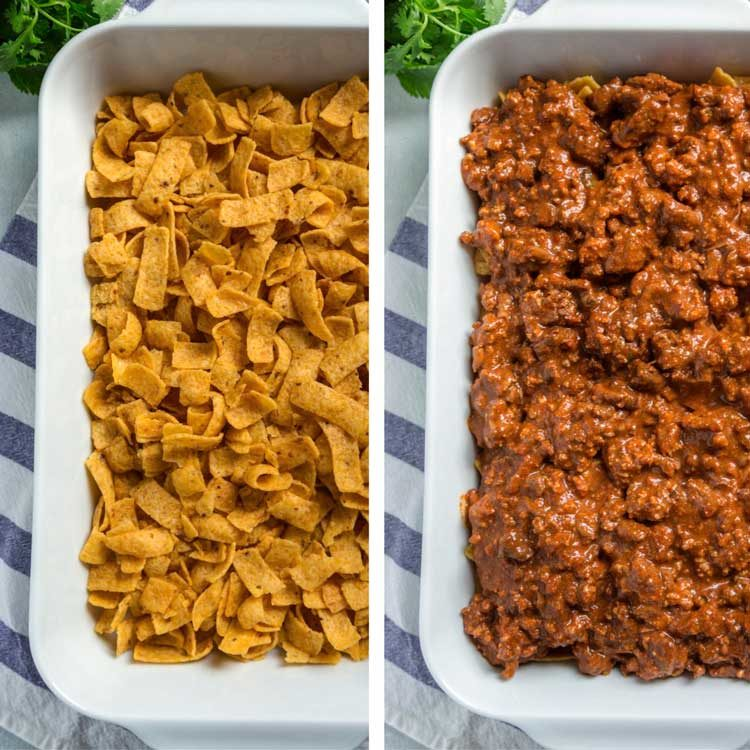 step photos of Frito Pie Casserole