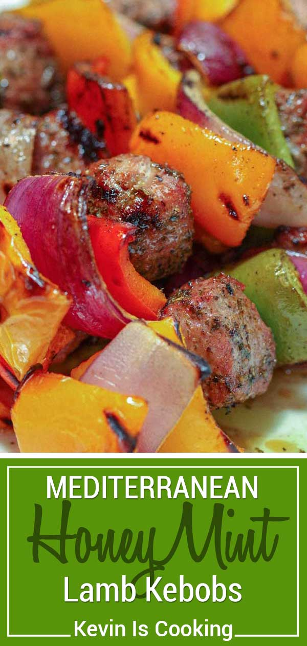 These Mediterranean Honey Mint Lamb Kebobs start with chunks of lamb loin marinated in an amazing honey, mint, vinegar and herb mixture that are packed with flavor. #lamb #kebobs #kabobs