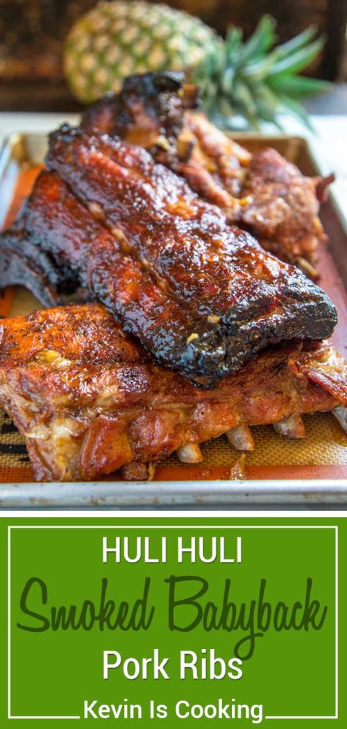 These Huli Huli Smoked Pork Ribs get marinated overnight in pineapple juice, soy sauce, ginger, garlic and other pantry items then get mesquite smoked.