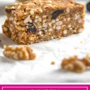 Dates, walnuts and bacon get chopped and blended with nut butter, oats and dried cherries for these no bake Savory Walnut Breakfast Bars. We often take these on hikes with the dogs and for easy snacking or whenever hunger hits.