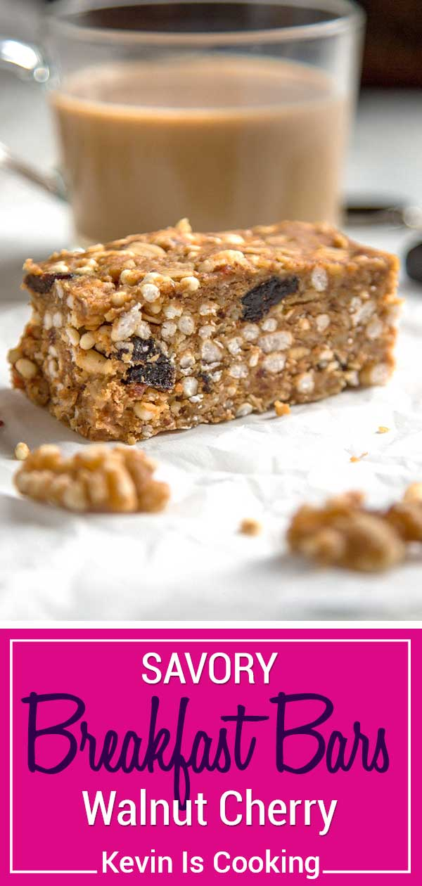 Dates, walnuts and bacon get chopped and blended with nut butter, oats and dried cherries for these no bakeSavory Walnut Breakfast Bars. We often take these on hikes with the dogs for easy snacking or whenever hunger hits. #walnuts #spon @CAWalnuts