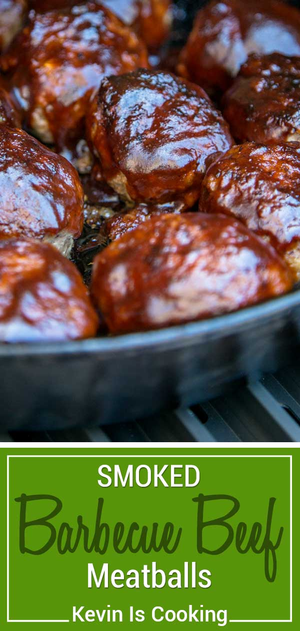 These smoked BBQ meatballs start with ground beef and onions sautéed with Worcestershire and cumin that get smothered in BBQ sauce. These are beyond tender and all made in the same pan! #smoked #bbq @TraegerPelletGrills #tragergrills #meatballs