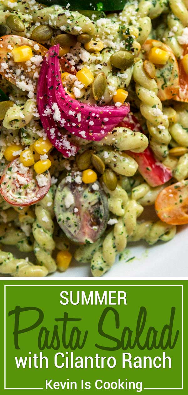 This Summer Pasta Salad has an incredible Cilantro Ranch dressing and lots of fresh vegetables, nuts and cheese, too. Add rotisserie chicken if you like.
