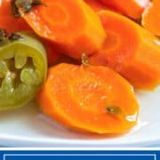 pickled carrots and jalapenos on white plate