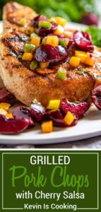 Dry rubbed with a sweet and spicy rub, these grilled pork chops are cooked to tender perfection and topped with a fresh cherry, pepper and honey salsa.