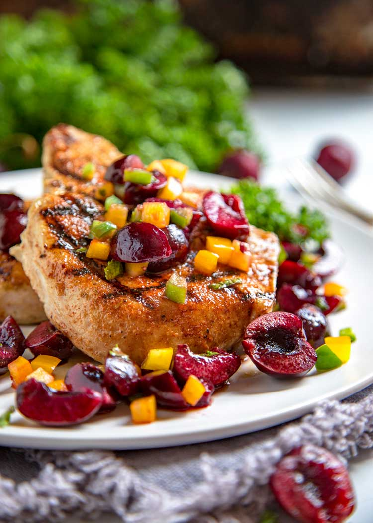 Grilled Pork Chops and Cherry Salsa