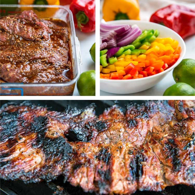 Grilled Steak Fajitas process steps