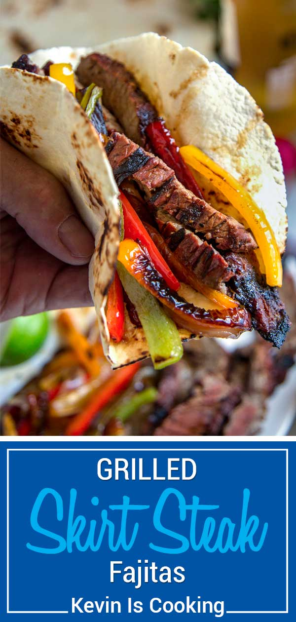 A Tex Mex favorite and staple at many restaurants, Grilled Steak Fajitas are the perfect blend of well seasoned steak charred with bell peppers and onions all wrapped in a warm tortilla. #TexMex #fajitas #Steak