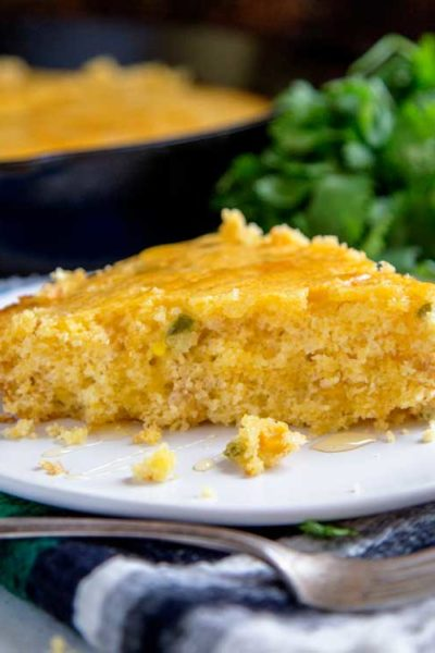 plated slice of Mexican cornbread