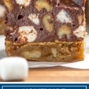 Blondies are basically a brownie without the cocoa in the batter. Baked to a golden brown these are loaded with walnuts and topped with Rocky Road candy. #walnuts #spon @CAWalnuts