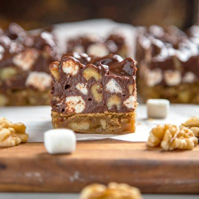Blondies are basically a brownie without the cocoa in the batter. Baked to a golden brown these are loaded with walnuts and topped with Rocky Road candy.