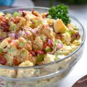 Smoked Potato Salad is a must try and easy to make. Instead of boiling the potatoes I smoked them first with the usual ingredients plus bacon for the win.