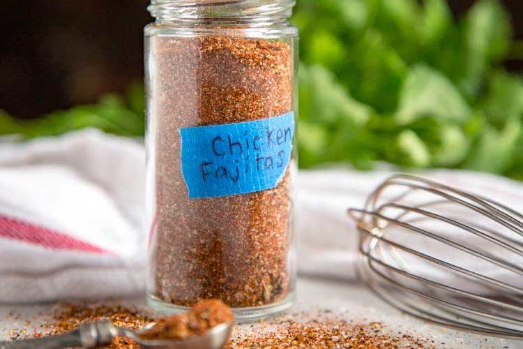 homemade spice blend in glass bottle