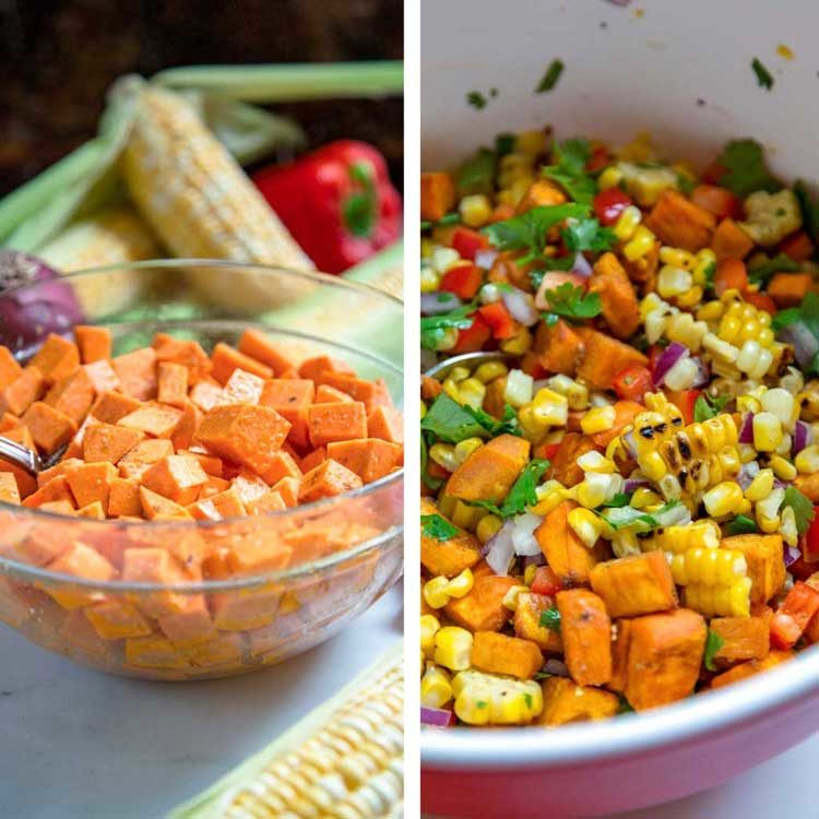 prepping ingredients for Sweet Potato and Corn Salad