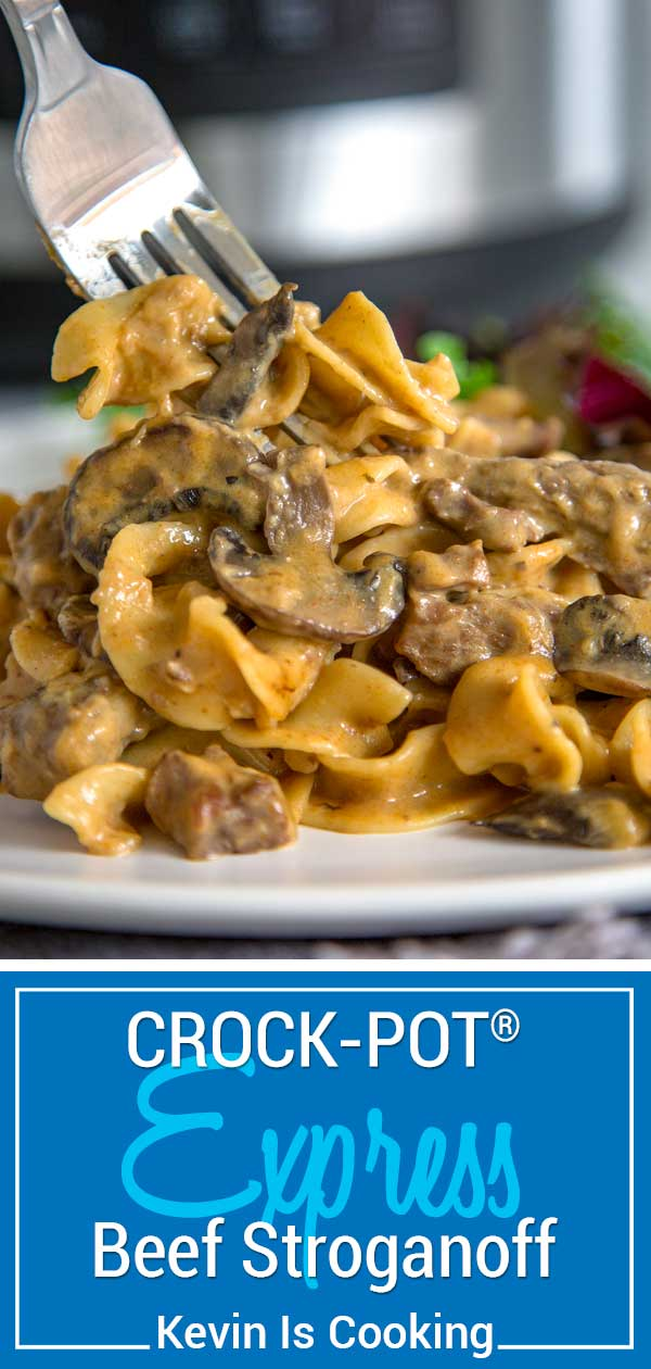 My Crock-Pot Express Crock Multi-Cooker Beef Stroganoff is creamy, saucy and loaded with spiced tender beef, mushrooms and noodles. All made in one pot and under 30 minutes! #spon @crockpot #crockpot #Crocktober