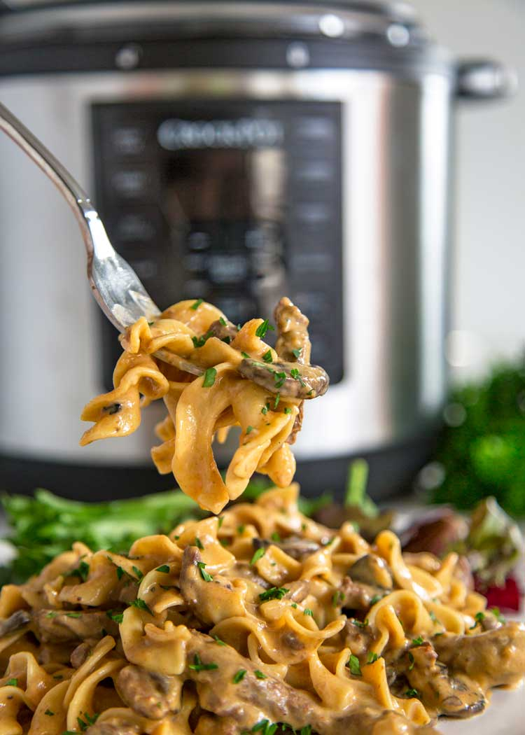 Beef Stroganoff in a Crock Pot Express