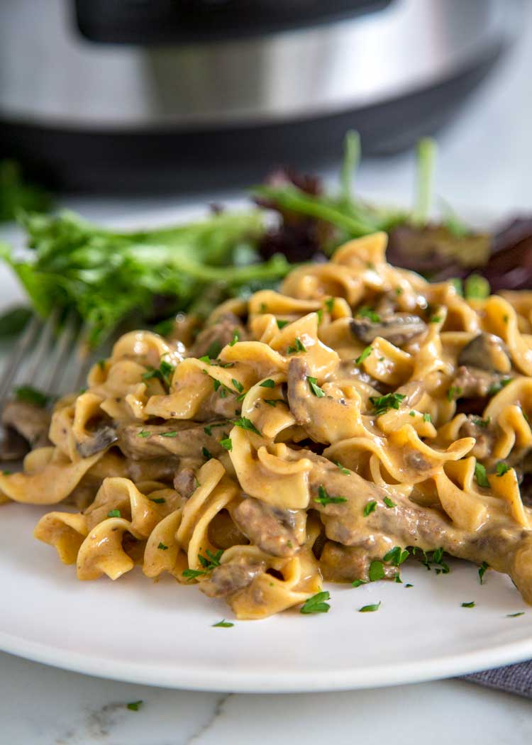 A plate of Crock Pot Beef Stroganoff