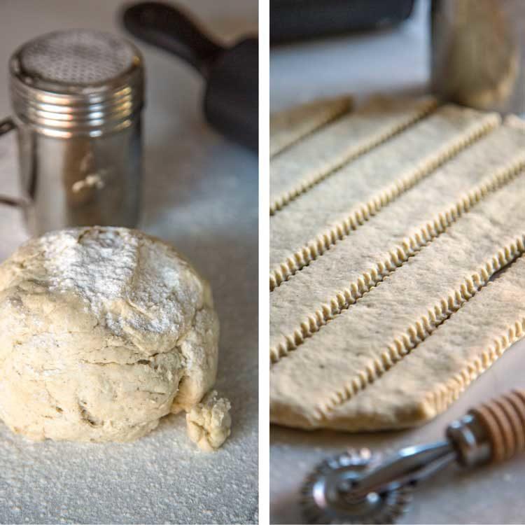 rolling and cutting dumpling dough