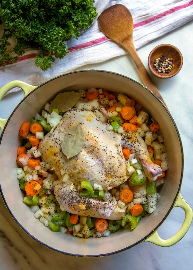 chicken in pot for Southern Chicken and Dumplings