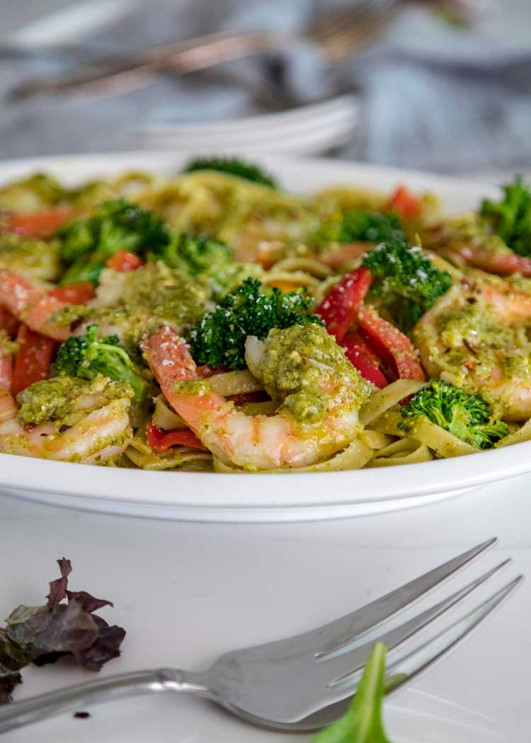 Pesto Shrimp Fettuccini
