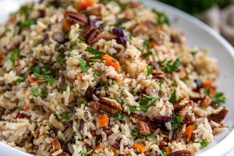 large platter of wild rice pilaf