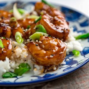 A plate of Honey Shrimp on rice