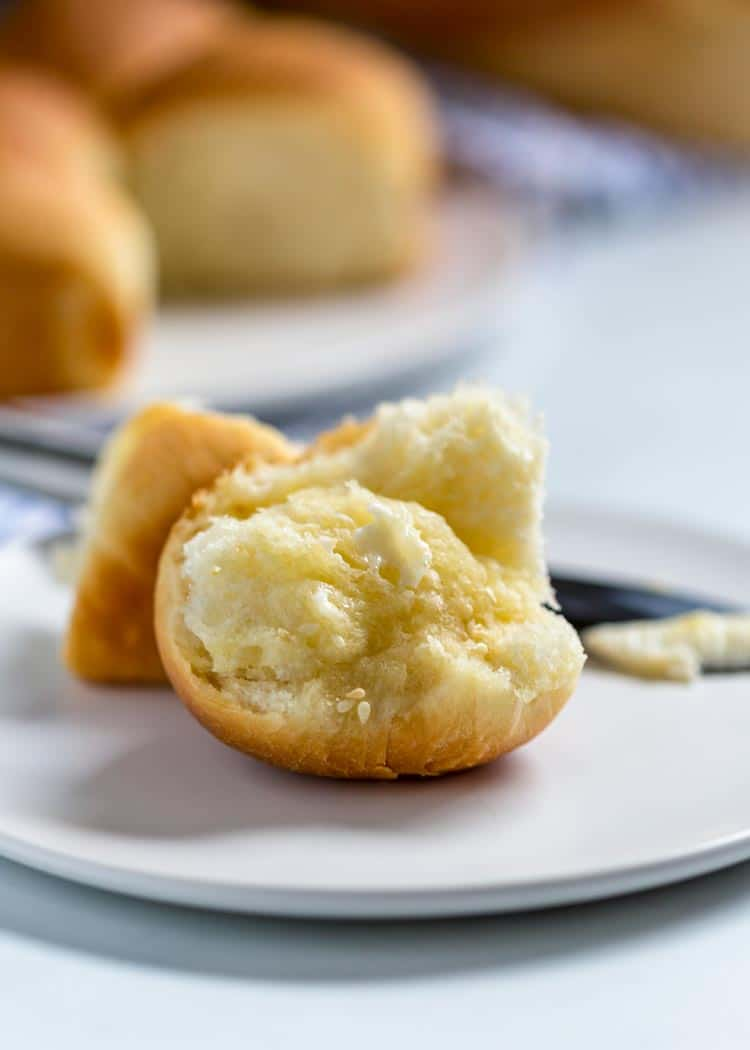 Gramma's Potato Rolls with butter