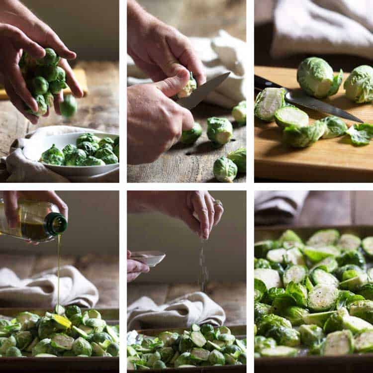 prep photo on how to make Honey Balsamic Roasted Brussels Sprouts