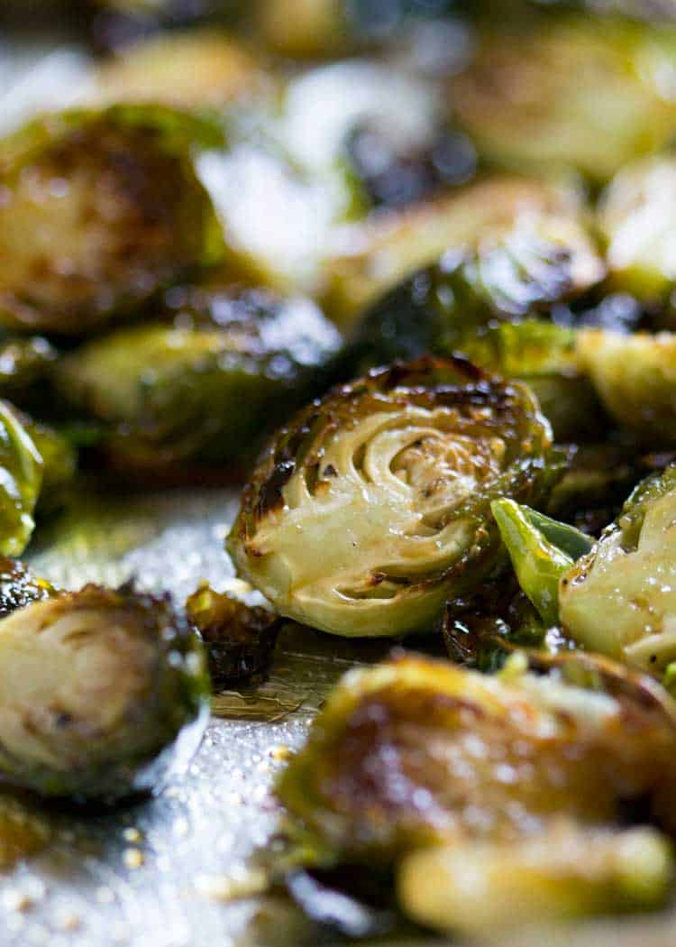 Honey Balsamic Roasted Brussels Sprouts on baking sheet