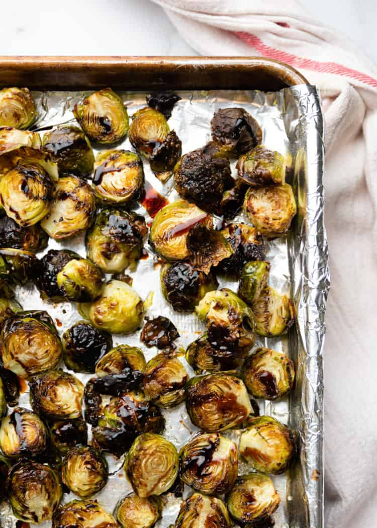 cooking brussel sprouts on foil lined baking sheet