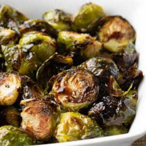 clos eup of roasted Brussels sprouts with balsamic honey