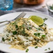 Clean, light and beautifully baked halibut infused with Thai green curry, coconut milk and lime is just the thing to eat over coconut infused steamed rice!