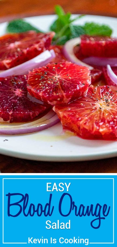 A classic salad from Sicily, this Blood Orange Salad is a refreshing mid-winter salad made with chilled blood orange slices, red onion salt, black pepper and a simple drizzle of olive oil. #salad #bloodorange