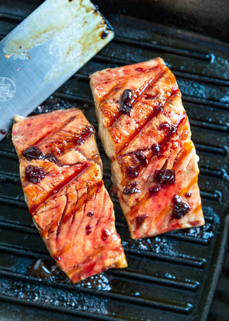 overhead of Alaska grilled salmon in pan