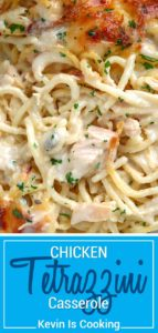 This Chicken Tetrazzini Casserole is a creamy, chicken pasta dish that's perfect for a mid-week comfort food dinner with lots of cheese and chunks of rotisserie chicken baked to a golden brown. #chicken #tetrazzini #casserole