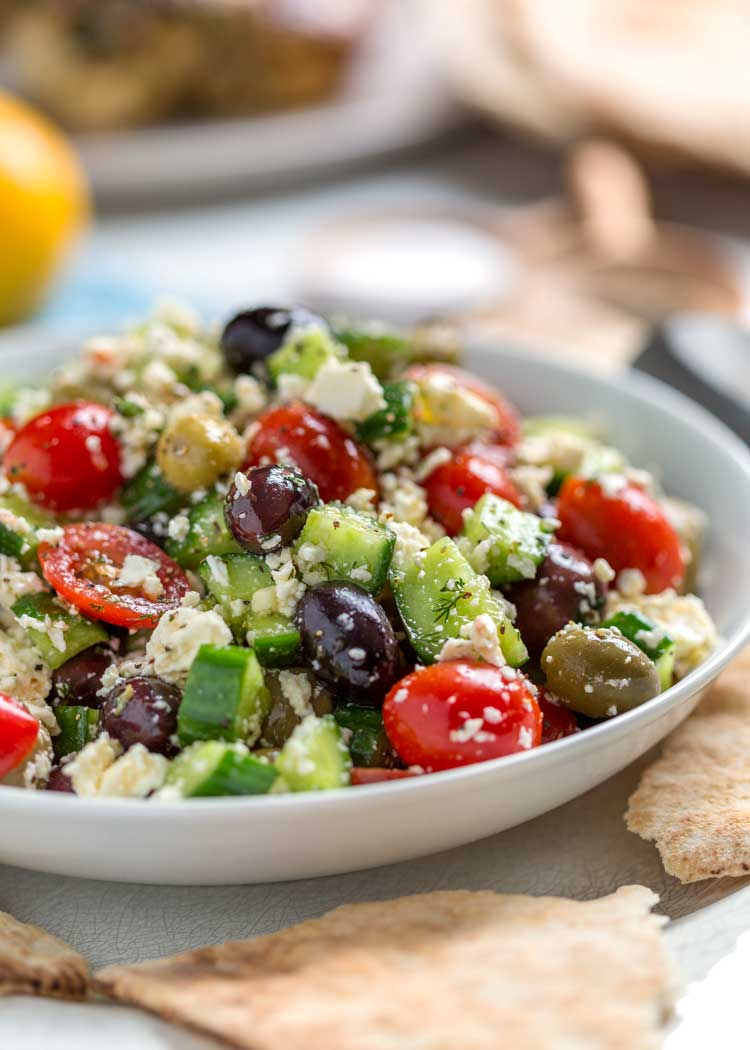 close up photo of Greek Salad with Feta